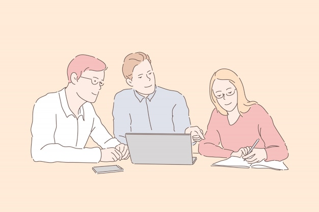 Partners zakenmensen en zakenvrouw ontwikkelen, verbeteren tactiek werk.