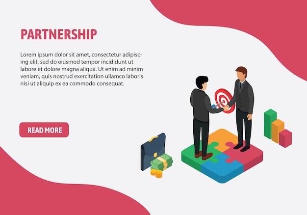 Partnerschap en teamwerkconcept, bedrijfsmensen die hand op puzzel schudden