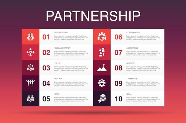 Partnerschap infographic 10 optie template.collaboration, trust, deal, samenwerking eenvoudige pictogrammen