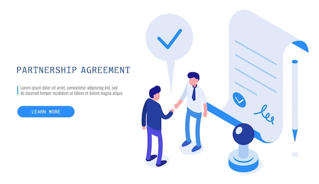 Partnerschapsovereenkomst concept. twee zakenman die een succesvolle zakelijke deal afrondt. isometrische vector webbanner.