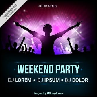 Party brochure met het silhouet dj