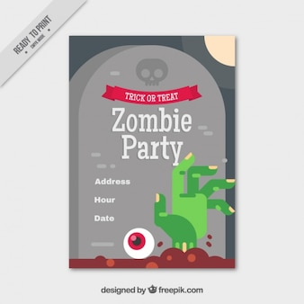 Party brochure sjabloon met ernstige en zombie hand in plat design