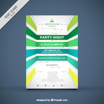 Party brochure sjabloon met geometrische vormen