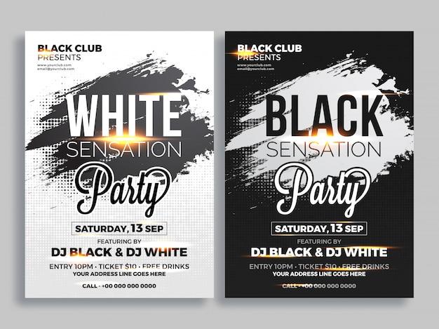 Party flyer of banner ontwerp in twee kleuren concept.