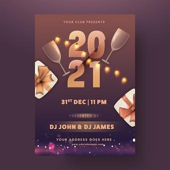 Party flyer of sjabloonontwerp met wijnglazen