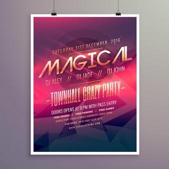 Party flyer uitnodiging sjabloon met paarse kleur thema