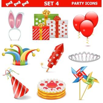 Party icons set 4 geïsoleerd op wit