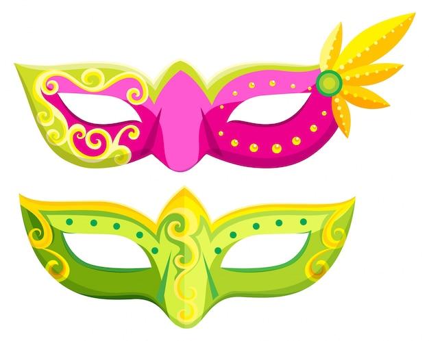 Party maskers in roze en groene kleuren