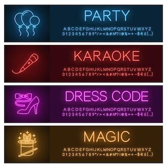 Party neon licht banner sjablonen set. luchtballonnen, microfoon, vlinderdas en schoen met hoge hakken, goocheltruc. website gloeiende menu-items. vector geïsoleerde illustraties