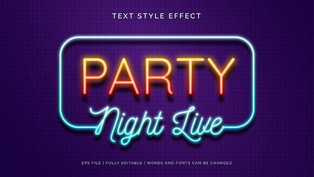 Party neon sign tekst stijl effect