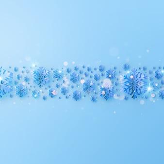 Party poster merry christmas uitnodiging sjabloon. rand gemaakt van uitgesneden goudfolie sneeuwvlokken.