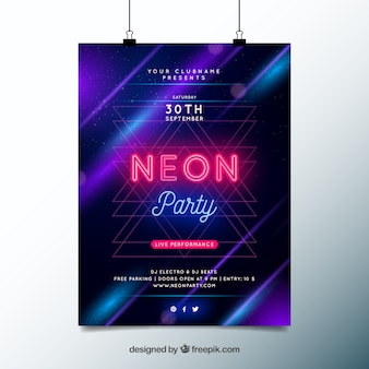 Party poster met neonlichten