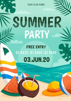 Party poster plat ontwerp