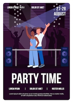 Party time poster platte sjabloon. koppel op leuke date op muzikaal concert
