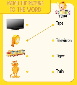 Pas de afbeelding aan het woord-werkblad voor kinderen aan