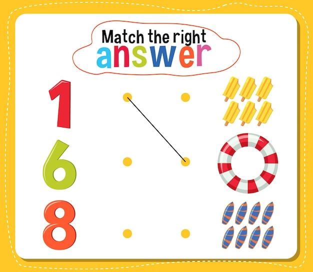 Pas de juiste antwoordactiviteit voor kinderen aan