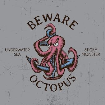 Pas op voor octopus design voor t-shirt afdrukken Premium Vector