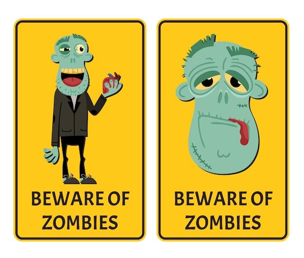 Pas op voor zombies label set met gelukkig monster