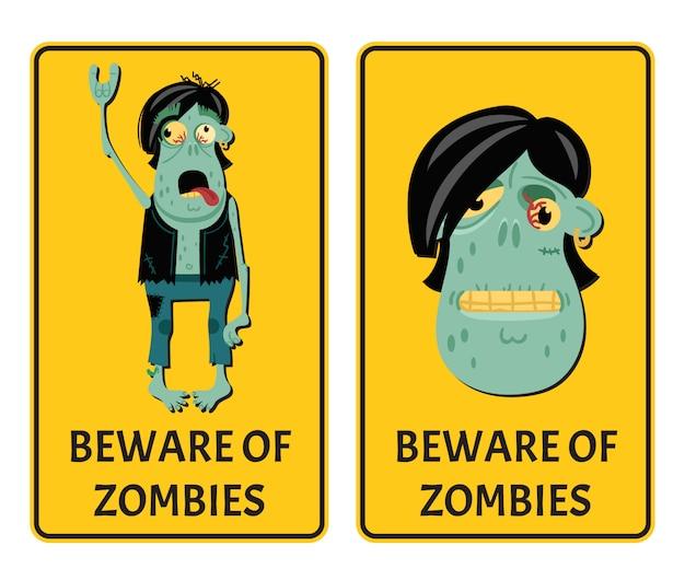 Pas op voor zombies labels met punk rocker monster