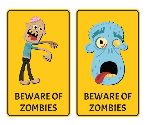 Pas op voor zombies sticker set met monster