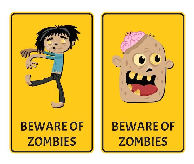Pas op voor zombies stickers met komische ondode man