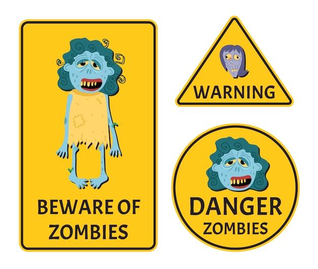 Pas op voor zombies stickers set