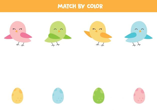 Pas schattige vogels en hun eieren op kleur aan.