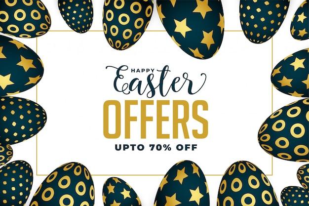 Pasen-aanbieding en verkoopbanner met gouden eieren