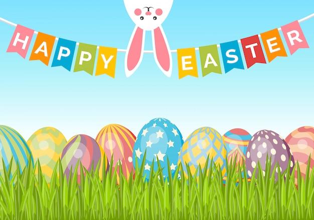 Pasen-achtergrond met eieren