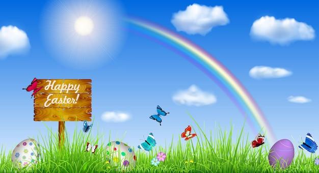 Pasen-achtergrond met hemel en houten wijzer