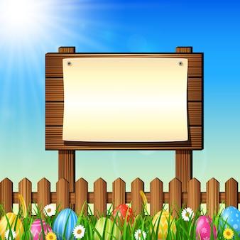 Pasen-achtergrond met kleurrijke eieren en leeg teken