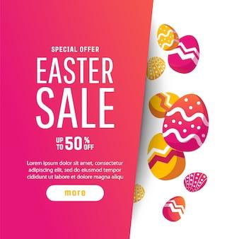 Pasen-achtergrond met moderne kleurrijke eieren.