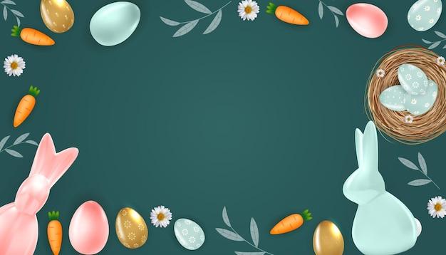 Pasen-achtergrondkader met realistische paaseieren, konijntje en wortel.