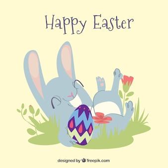 Pasen-achtergrondontwerp met gelukkig konijn