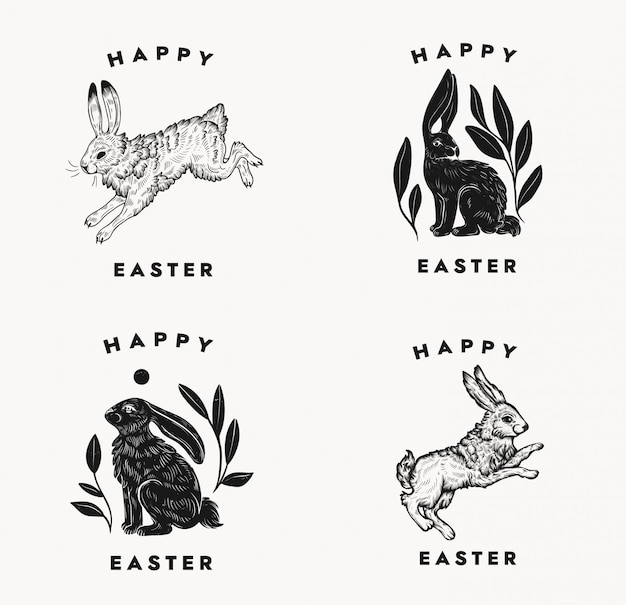 Pasen ansichtkaarten met bunny typografische compositie op een witte achtergrond. pasen konijn logo. geïsoleerde zwart-wit hand dageraad illustratie van haas in een vintage stijl.
