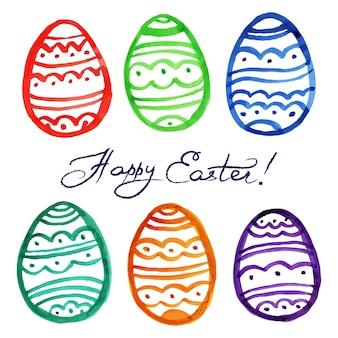 Pasen aquarel eieren. vector illustratie