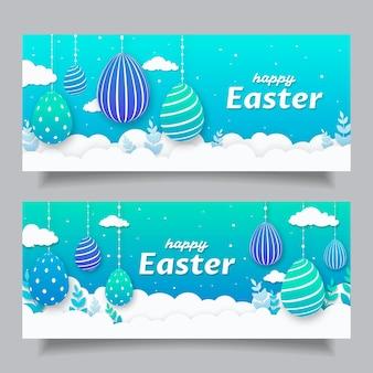Pasen-banners in papieren stijl