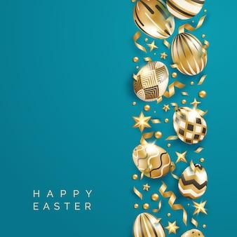 Pasen blauwe achtergrond met realistische versierde gouden eieren, linten, sterren, ballen en tekst.