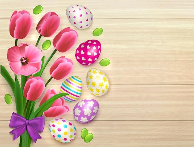 Pasen-boeket van bloemen met kleurrijke eieren op natuurlijke houten lijstachtergrond met bladeren en boogillustratie