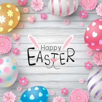 Pasen-dagontwerp van eieren en bloemen