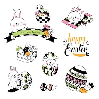Pasen doodles. hand tekenen stijlen van paasdag