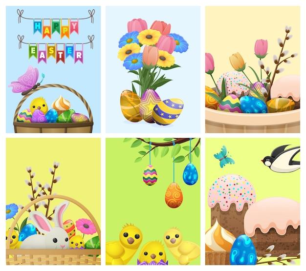 Pasen-feestelijke symbolen vectorillustratie voor vakantieuitnodiging