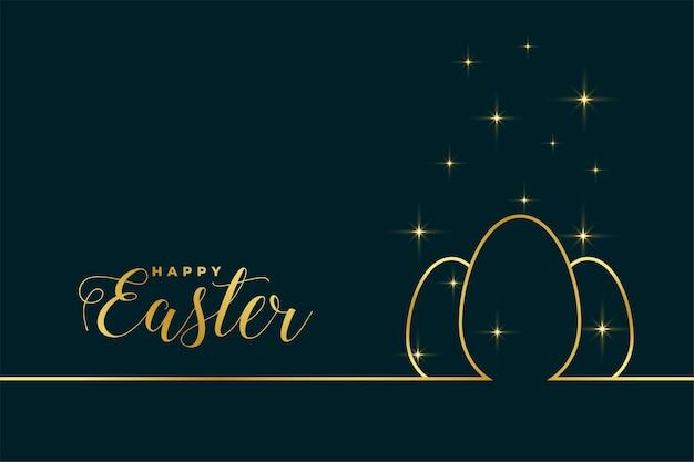 Pasen-festivalgroet in gouden lijnstijl