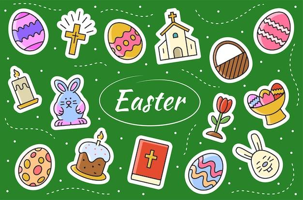Pasen gerelateerde stickers instellen. collectie borden christendom viering. vector illustratie.