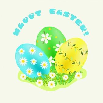 Pasen groen; turkoois; geel beschilderde eieren in groen gras