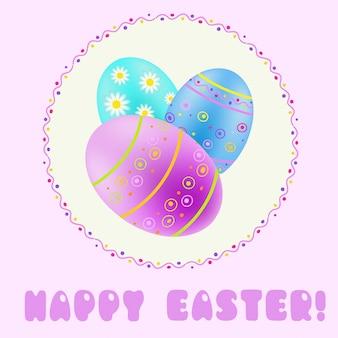 Pasen-groet met turkoois; blauw; paars beschilderde eieren