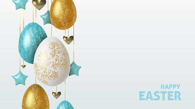 Pasen-groetachtergrond met realistische gouden, blauwe en witte paaseieren.