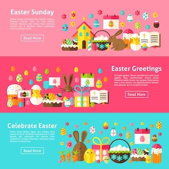 Pasen groeten horizontale webbanners. vlakke stijl vectorillustratie voor website header. lente vakantie objecten.