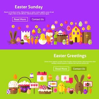 Pasen groeten website banners. vectorillustratie voor webkoptekst. lente vakantie plat ontwerp.