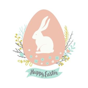 Pasen-groetkaart met ei bloemenkroon en konijn.